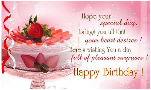 Happy birthday card image with pink background and image of cake and strawberry | Birthday Cards