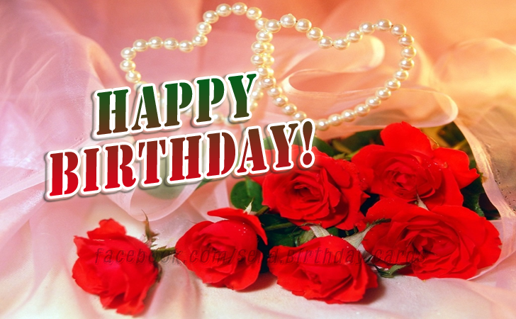 Happy Birthday Card with Red Roses - Happy Birthday Cards, Images & Wishes