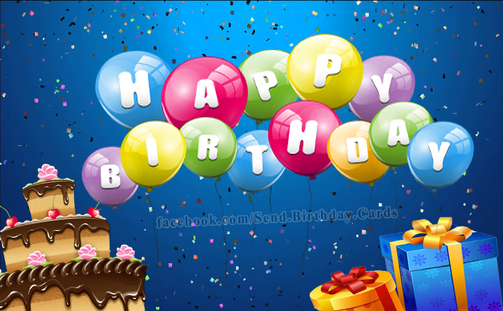 Beautiful Happy Birthday Card with Cake and Balloons | Birthday Cards