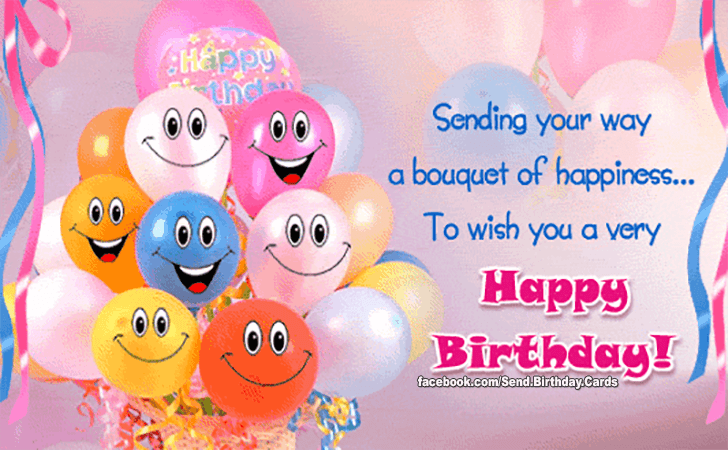 sending your way a bouquet of happinessto wish you a very happy birthday - Send Birthday Card