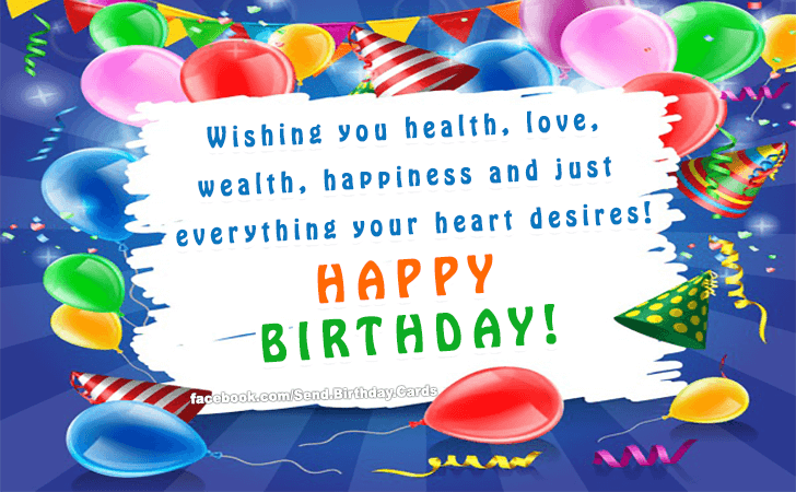 Happy Birthday Message Good Health ~ Birthday cards wishing you