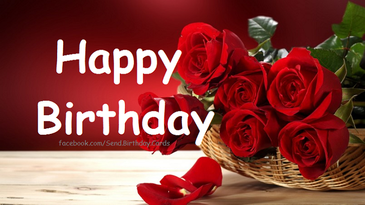 Elegant Happy Birthday Card with red Roses image - Happy Birthday Cards, Images & Wishes