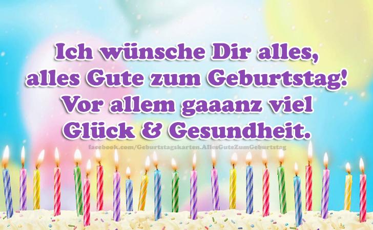 Geburtstagskarten | Ich wünsche Dir alles, alles Gute zum Geburtstag! Vor allem gaaanz viel Glück & Gesundheit.