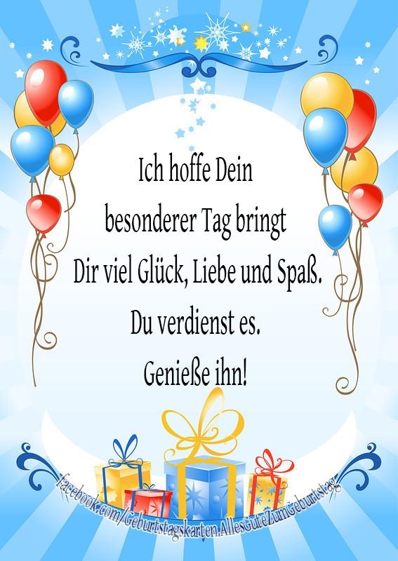 Geburtstagskarten | Ich hoffe Dein besonderer Tag bringt Dir viel Glück, Liebe und Spaß. Du verdienst es. Genieße ihn!