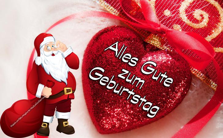 Geburtstagskarten | Alles Gute zum Geburtstag bilder mit Weihnachtsmann und Herzen