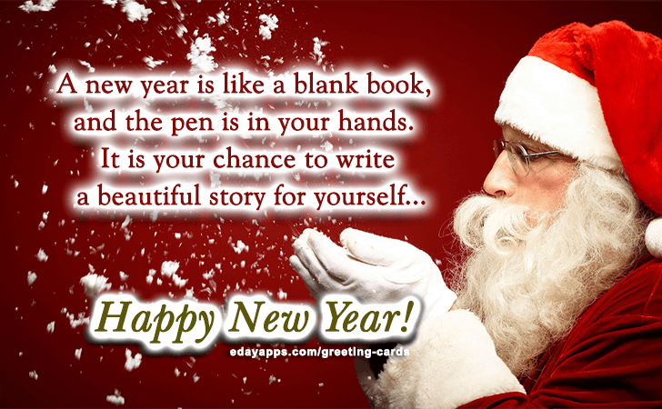 greeting cards a new year is like a blank book and the pen is