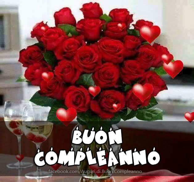 Buon Compleanno Rose Rosse Bouquet Cartoline Speciale(Frasi e Immagini)