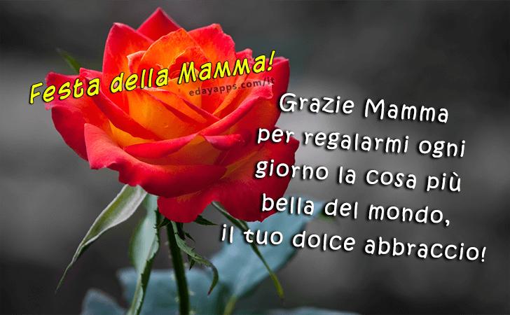 Grazie Mamma per regalarmi ogni giorno la cosa piu bella del mondo, il tuo dolce abbraccio! | Festa della Mamma - Auguri, Frasi e Immagini